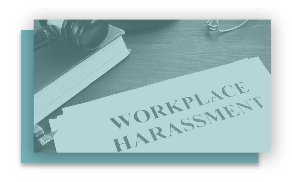 Workplace harassment paperwork, legal book, and judge's gavel, representing the issues and risks addressed by our sexual harassment training videos for the workplace.